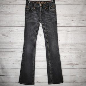 Rock Revival Black Gray Owen Boot Cut Jean Size 28